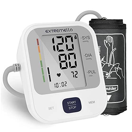 Extremella Blutdruckmessgerät, Oberarm Blutdruckmessung für Heimgebrauch mit Arrhythmie-Anzeige, Doppelbenutzer Modus, 2 x 120 Datensätze, Große Manschette, 4 AA Batterien, USB-Kabel & Tragetasche