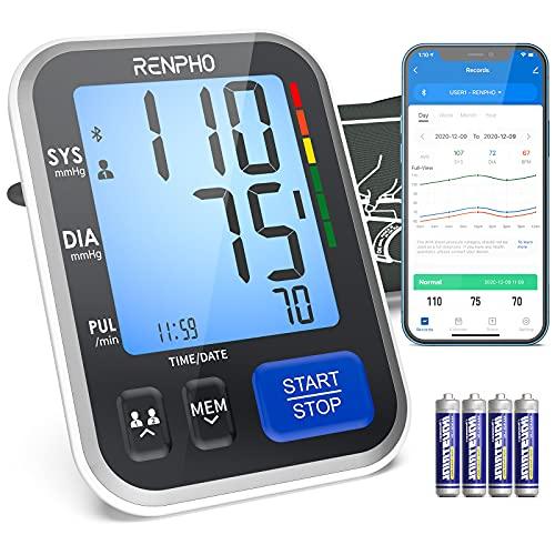 RENPHO Smart Bluetooth Oberarm Blutdruckmessgerät - den Heimgebrauch,Große Manschette,Digitale BP Manschetten mit Großem Display,Zwei Benutzer,iOS Android App,Unbegrenzter Speicher