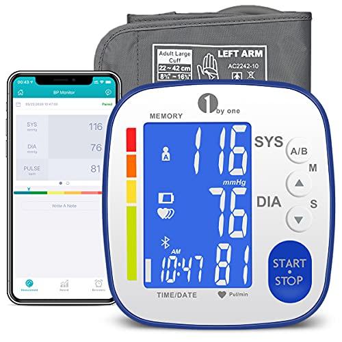 1byone Blutdruckmessgerät Oberarm mit Bluetooth, Oberarm Blutdruckmessgerät Bluetooth, Blutdruckmessgerät mit App für präzise Blutdruckmessung, 2 * 250 Sätze Speicher, Export Daten als Excel